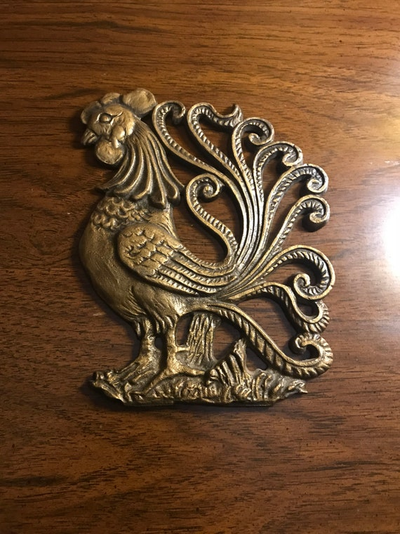Vintage Cast Iron Rooster Wall Hanging Rooster Decor Etsy