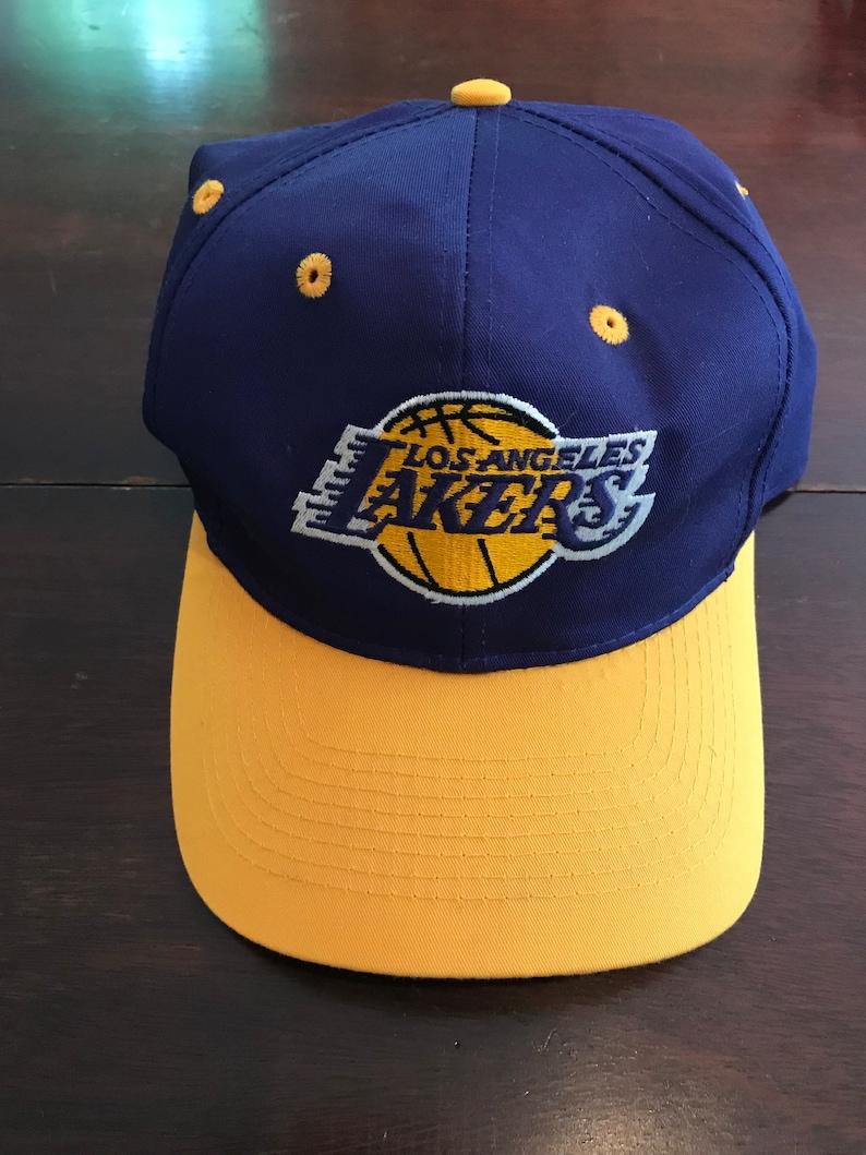 59091e91e74 Vintage Logo 7 1990 s Los Angeles Lakers Hat