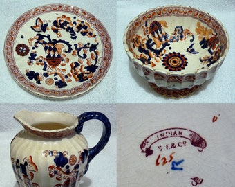 A Nice Set of 3 Samuel Fieldings Pottery Items, A Plate, Punch Bowl and Jug / Pitcher