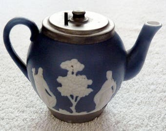 A Rare Victorian Jasper Ware Teapot and Money Box / Bank