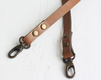 PAIR OF 1 INCH MID BROWN LEATHER BAG HANDLES FOR BAG MAKING WITH RIVET HOLES