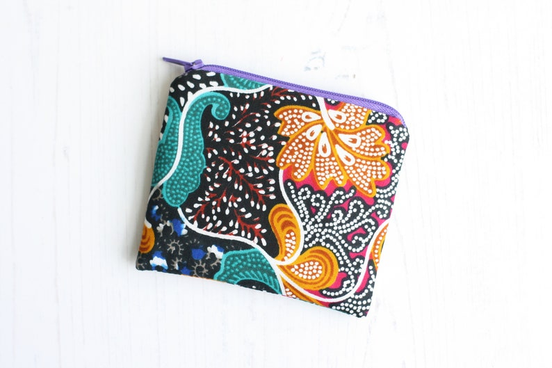 Green patterned zip purse Gift for her under 20 Vegan fabric purse Black ethic change purse Ankara fabric coin purse