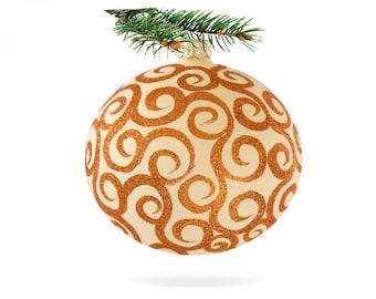 Orange bauble ball-decoration bauble-hanging glass bauble-hand blown decoration-bauble ball-modern christmas tree-orange glass ornament-067