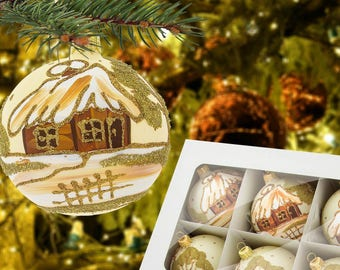 Holiday painted balls-vanilla gold baubles-polish gold house glass ball-glass baubles in box-winter glass baubles-unique polish baubles-118