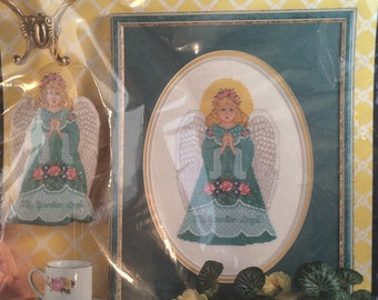 Christmas Counted Cross Stitch Kit, Bucilla no 41122 / Guardian Angel Ornament or Wall Hanging / Floss, Canvas, Instructions, New 1995