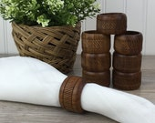 Vintage Wooden Napkin Rings, Set of 8, Hand Carved Wood, Napkin Holders, Modern Mid-Century, Boho Chic, Eclectic, Retro 70 39 s, Table Decor
