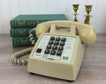 Vintage Touch Tone Phone, Beige Office Telephone With Connection Button, Retro  Office Decor, Northern Telecom, Canada, Working, 1983