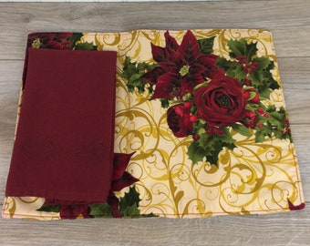 Vintage Christmas Placemat & Napkin Set, Poinsettia Motif, Burgundy red and Gold, Reversible, One Setting, Xmas Office Decor, Xmas Lunch Box
