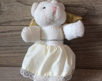 White Christmas Tree Ornament / Angel Bear / Vintage Plush Bear in White and Gold 6 inch / Vintage Christmas tree Decoration / Gift
