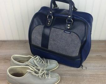 Vintage Dark Blue Bowling Ball Bag Complete with Bowling Shoes - Retro Bowling Bag - Bowling Accessories Travel Bag - Brunswick Made in USA