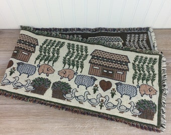 Vintage Woven Table Runner With Fringe, 50u0027u0027, Farm Animal Theme, Barn,  Ducks U0026 Piggies, Table Linens, Country Table, Country Kitchen Decor