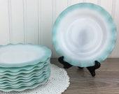 Vintage Hazel Atlas Turquoise Crinoline 7 39 39 Bread or Dessert Plates, Set of 10, White Glass w Aqua Blue Ruffle Ripple, Retro 50 39 s Kitchen