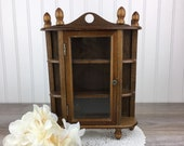 Vintage Small Wooden Cabinet, Dark Wood, Wall Curio Shelf Cabinet, Thimbles Display Case, Knick Knack, Miniatures, Rustic Country, Farmhouse