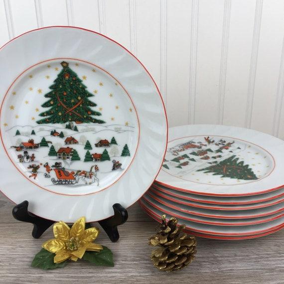 Vintage Christmas Tableware Set Of 8 Porcelain Salad Plates Etsy