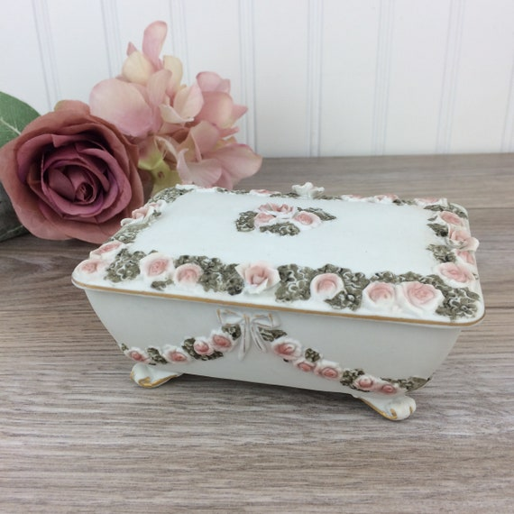 Vanity Decor Ring Box Treasure Jewelry Box Ceramic Square Pink Trinket Box Silver Hinged Lid Artificial Roses and Ribbons with Jewels