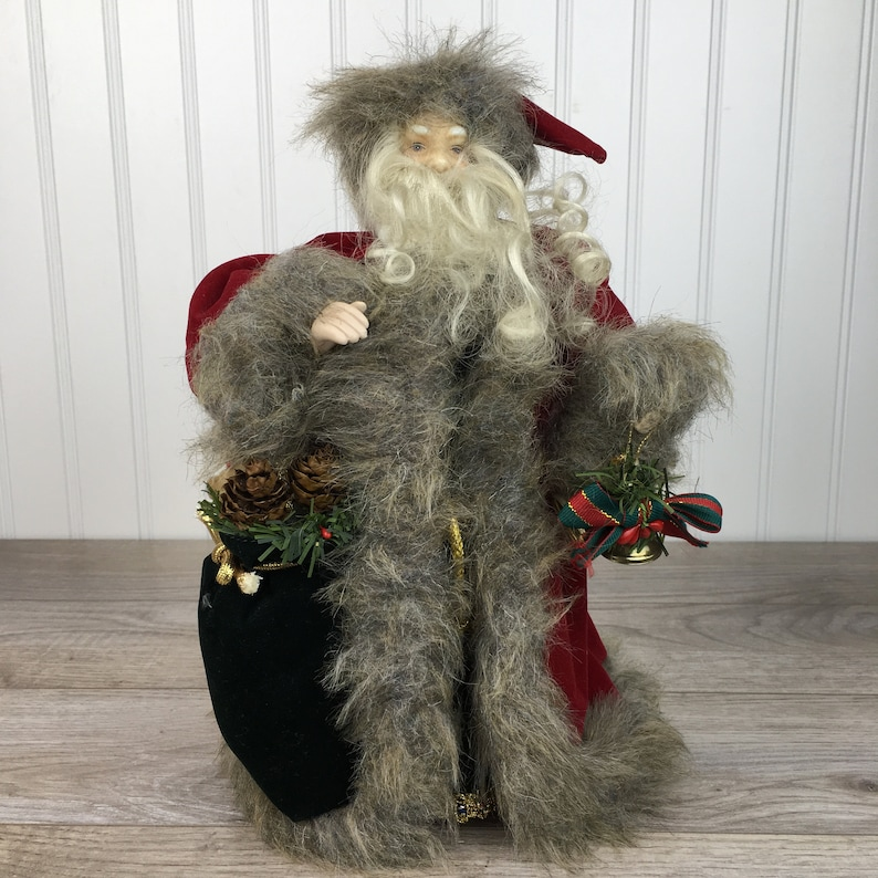 Bag of Gifts 12 Tree Top Santa Claus Vintage Old Saint Nick Christmas Tree Topper Jingle Bells Red /& Green Velvet with Faux Fur Coat