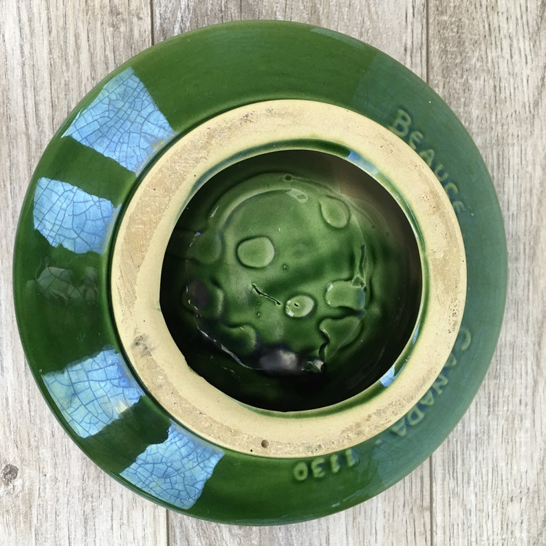 Bar Memorabilia Vintage Beauce Pottery Ashtray Mid Century Pop Art Canada Green 1130 Retro 60/'s Promotional Ashtray for United Tires