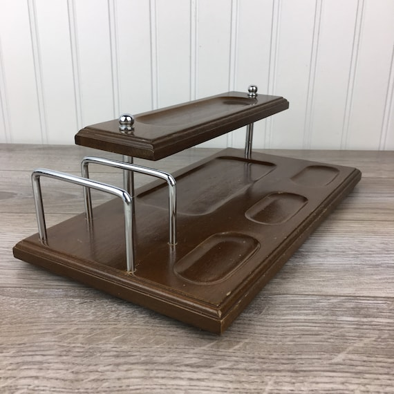 Upcycled Vintage Wooden Valet Tray  Farmhouse Decor Chalk Painted Mens Butler Tray  Office Decor   Desk Accessories  Unisex Dresser Tray