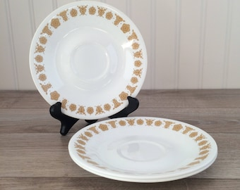 Vintage Corelle Saucers - Golden Butterfly Replacement Plates - Set of 3 / Retro Dinnerware, Kitchenware, Corning Yellow Floral