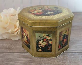 Retro Chic Tin Box / Gold and Roses Floral Arrangements / Hexagonal / Vintage Tin Storage Container / Ornate, Rococo, Renaissance, Romantic