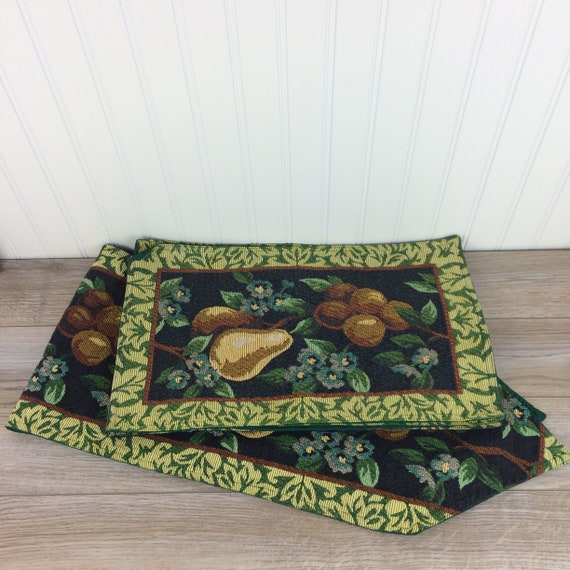 Vintage Table Runner And 4 Placemat Set Forest Green Tapestry   Etsy