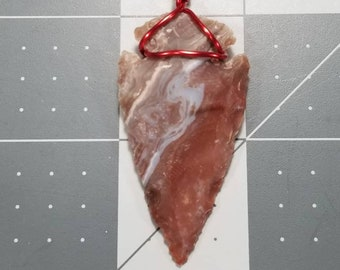 Hand Crafted By A Native American Cherokee Hand knapped Flint Wire Wrapped Arrowhead Necklace Pendant