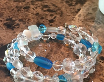 Beaded Memory Wire Bracelet with Charms