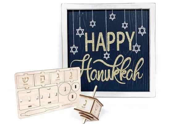 Diy Wooden Hanukkah Dreidel Kit Lasercut Wooden Dreidel Etsy