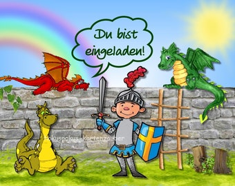 10 Einladungskarten Geburtstag Ritter Drachen Burg