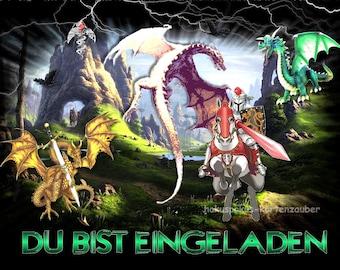 8 Einladungskarten Ritter Drachen Burg Geburtstag Kinder Kindergeburtstag  Einladungen Schwert