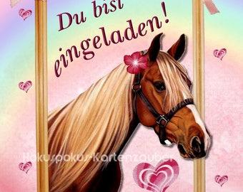 Schön 8 Einladungskarten Pferd Mädchen Geburtstag Kinder Kindergeburtstag  Einladungen Pony