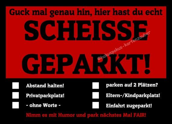 Notizblock geleimt Humor Auto Falschparker Autofahrer Scheisse Geparkt