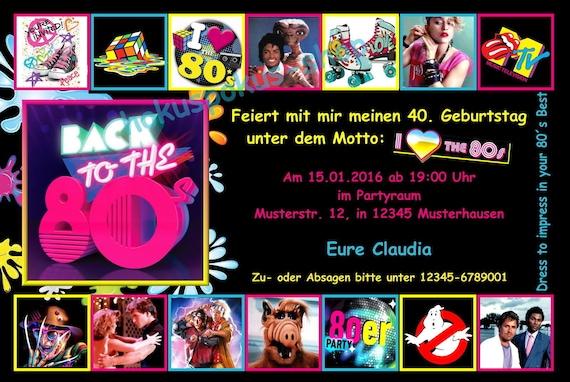 10 Zaproszenie Karty Lat 80 Tych Lat 80 Urodziny Party Retro Etsy