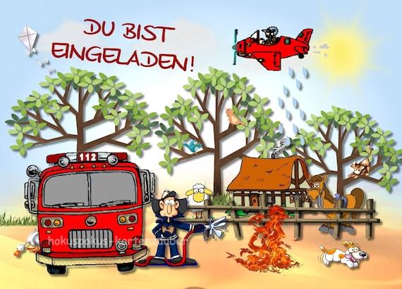 8 Lustige Einladungskarten Feuerwehr Geburtstag Kinder Kindergeburtstag Einladungen Feuerwehrauto Feuerwehrmann Jungen