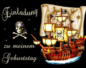 10 Invitation cards Birthday Pirate Theme Party