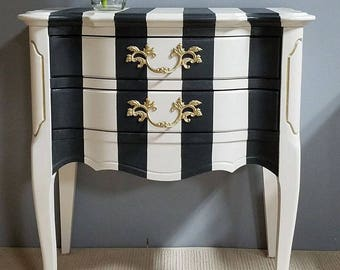 French Provincial Nightstand/Side Table with Hand-Painted Bold Black and White Stripes