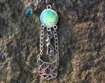 Sphynx cat protection-Nude cat guardian angel key fob-Sphynx-cat-mermaid scales-Egypt-Witch
