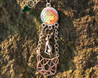 Sphynx cat protection-Nude cat guardian angel key fob-Sphynx-cat-mermaid scales-Egypt-witch-