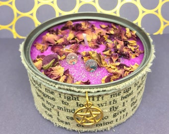 Bewitching Rose-Crystal candle-Soy wax candle-scented candle-Ritual candle-Bookish candle-witch-witchy stuff-Spell candle-