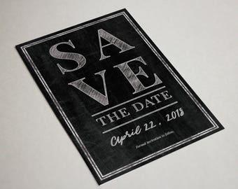 Customizable Chalkboard Style Save the Date Postcard