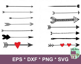 Arrow SVG, Arrows Svg, Decorative Arrows, Tribal Arrow Svg, Arrow Clipart, Heart Arrow Svg, Svg Cut File, Arrow Dxf, Arrows Clipart