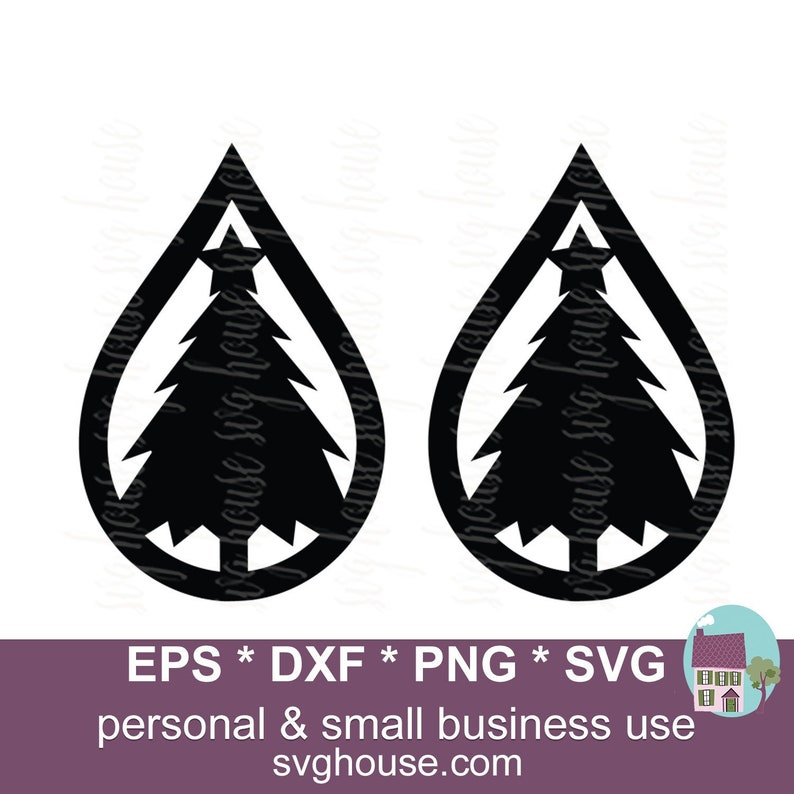 Christmas Tree Earrings Svg Tear Drop Earring Cut Files For Silhouette And Cricut Includes Png Eps And Dxf