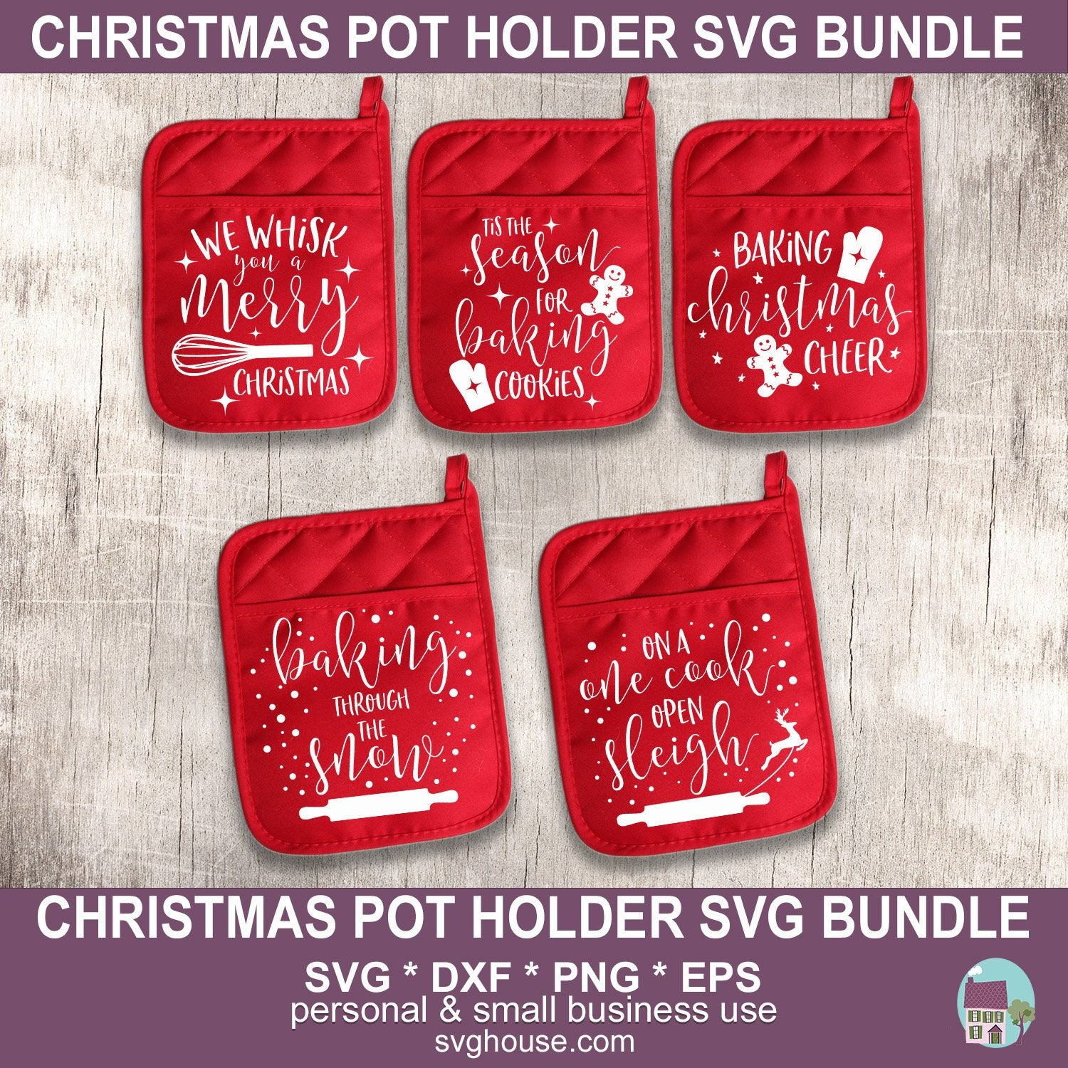 Pot Holder Svg: Christmas Pot Holder SVG Bundle Vector Cut Files For