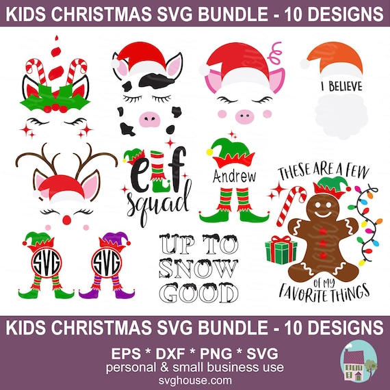 Kids Christmas Svg Bundle Commercial Small Business Use 10 Etsy