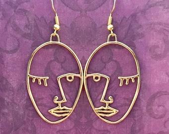 Gold Wink face earrings hoop Brass Earrings Abstract gold earrings, Gold Face Earrings Gold face earrings Face earrings