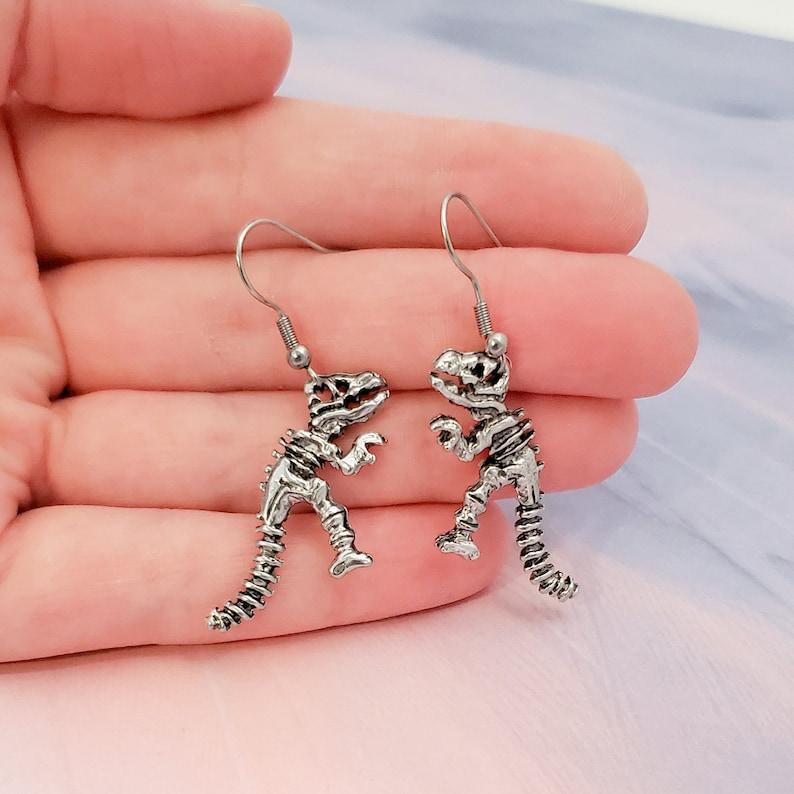 Dinosaur Earrings Reptile Jewelry T-Rex Earrings Silver