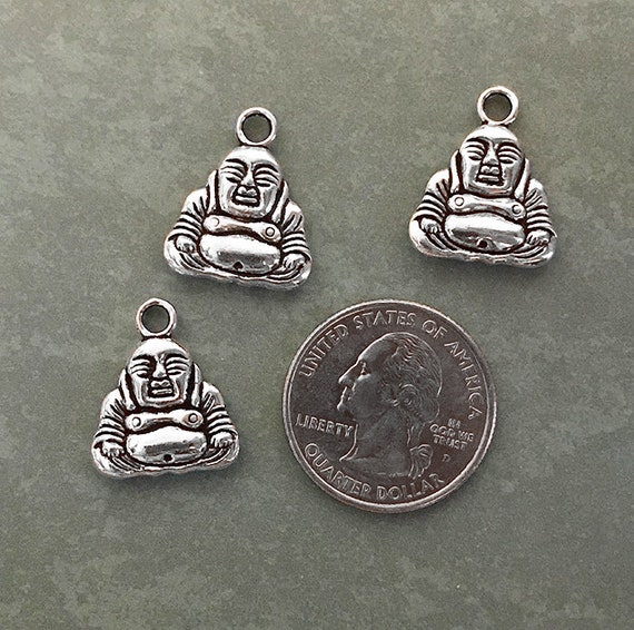 10 x Antique Bronze Double Sided Buddha Head Charms 16mm x 8mm
