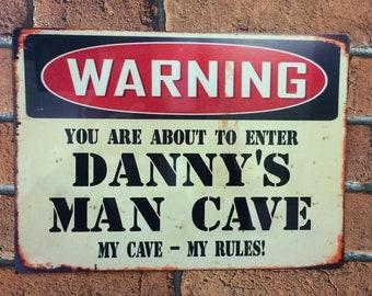 Man cave sign personalised metal vintage retro gift idea