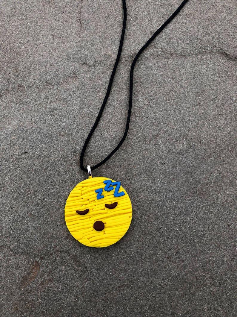 Sleepy Emoji Necklace / Sleeping Emoji / Emoji / Gift for Teenager / Gift  for Teacher / Gift for Child / Gift for Niece / Gift for Nephew