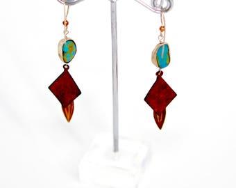 Kingman Turquoise Brass Earrings